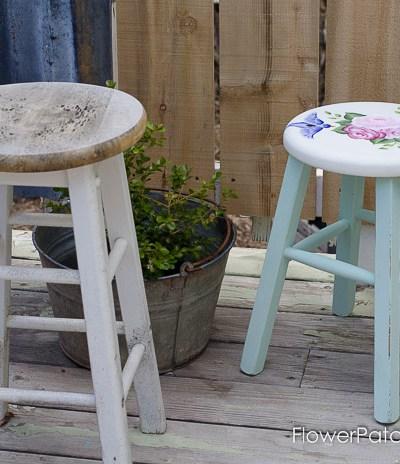 Shabby lil stool gets a new life, FlowerPatchFarmhouse.com