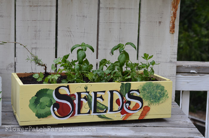 Plant a kitchen herb garden in this DIY crate, FlowerPatchFarmhouse.com