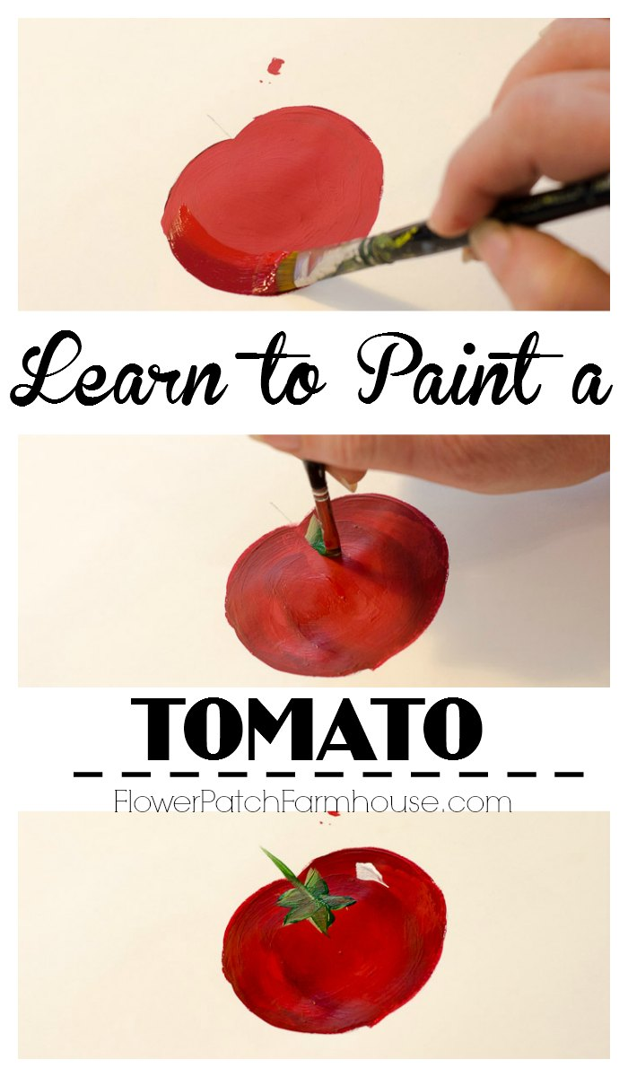 Learn how to paint a tomato one stroke at a time.  Easy beginners lesson. Great for crafts, DIY garden signs or anything you wish to paint!