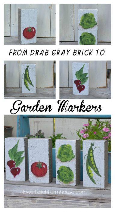 Hand painted garden markers, turn drab gray bricks into fabulous garden art, FlowerPatchFarmhouse.com