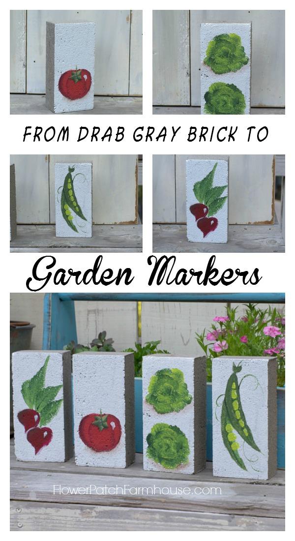 Brick Garden Markers Flower Patch Farmhouse