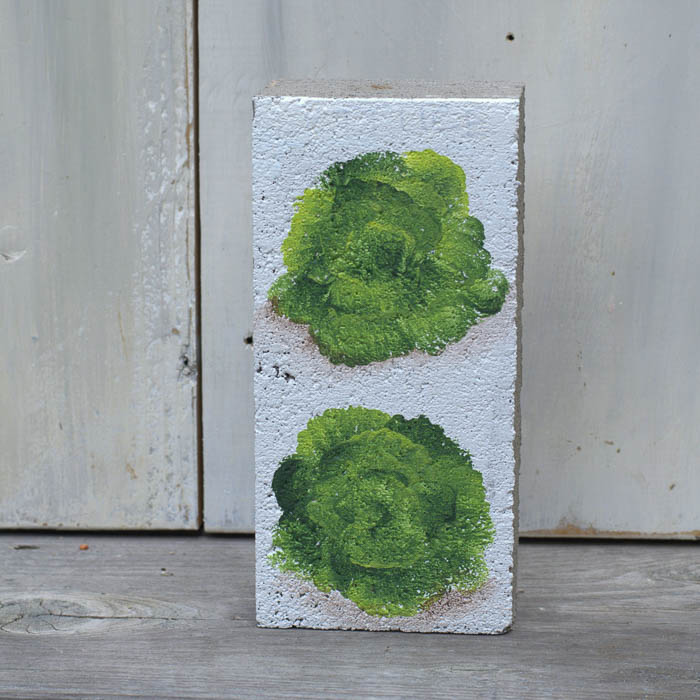 How to Paint Lettuce on brick for a garden marker, FlowerPatchFarmhouse.com