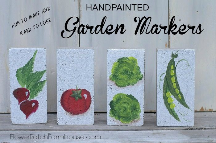 Hand painted garden markers on bricks, fun to make and hard to lose, FlowerPatchFarmhouse.com