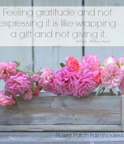 Feeling Gratitude inspirational quote, vintage crate, pink roses. FlowerPatchFarmhouse.com