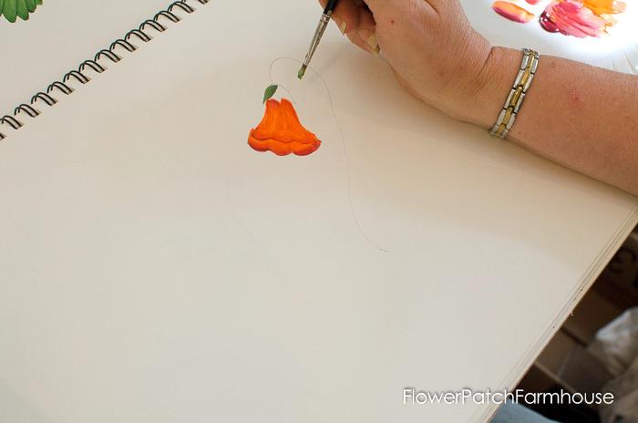 Learn how to paint Trumpet Vine, FlowerPatchFarmhouse.com (16 of 20)