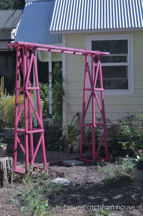Fabulously Easy DIY Garden Arbor, build one in a day for under $60. FlowerPatchFarmhouse.com