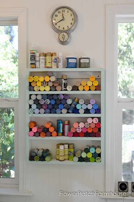 DIY cubby shelf for craft paint bottles. EAsy to build and well worth the effort! FlowerPatchFarmhouse.com