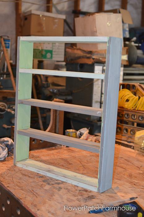 DIY cubby shelf for paint bottles needs paint, FlowerPatchFarmhouse.com
