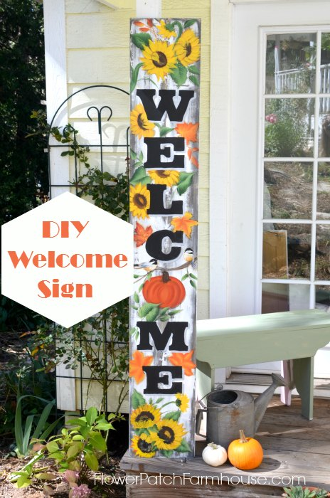 Paint a Huge Fall Welcome sign, an easy DIY with a PDF of the wording and access to free tutorials for the Fall designs to paint. FlowerPatchFarmhouse.com