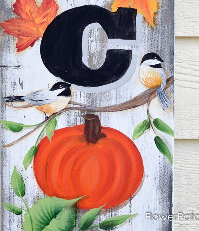 Make a HUGE Fall inspired rustic Welcome sign. Perfect for your front porch or whever you want to offer a big welcome. Links to all the painting tutorials to make this yourself. Easy and oh so fun! FlowerPatchFarmhouse.com
