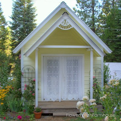 DIY Plans for this lovely craft cottage, she shed, man cave, backyard office or garden shed. A cozy little retreat for many uses! Build one today. FlowerPatchFarmhouse.com
