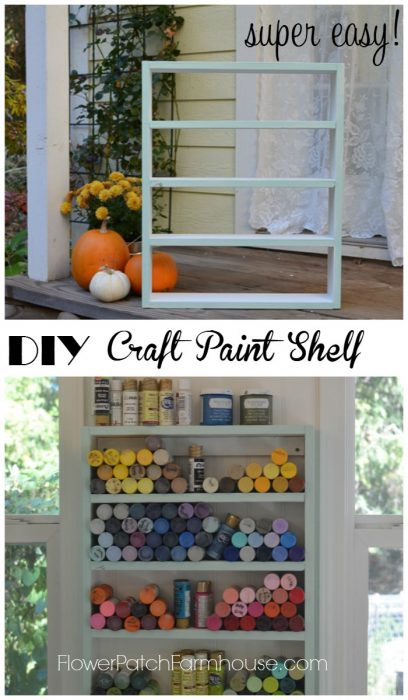 Build an easy DIY Craft Paint Shelf, organize all those little craft paint bottles and see what you have in a glance. Hangs on the wall for ease of use. FlowerPatchFarmhouse.com