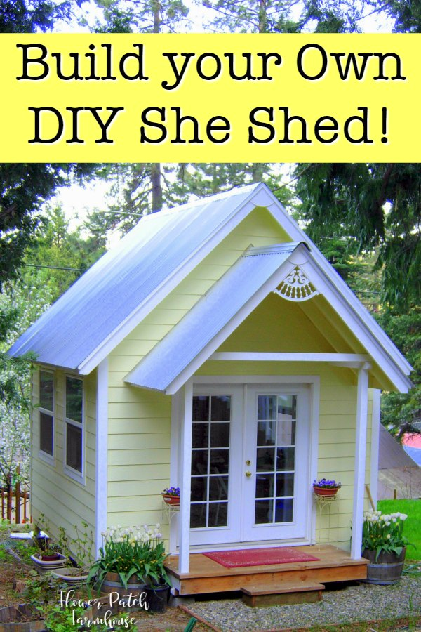 yellow tiny house with front porch, Flower Patch Farmhouse
