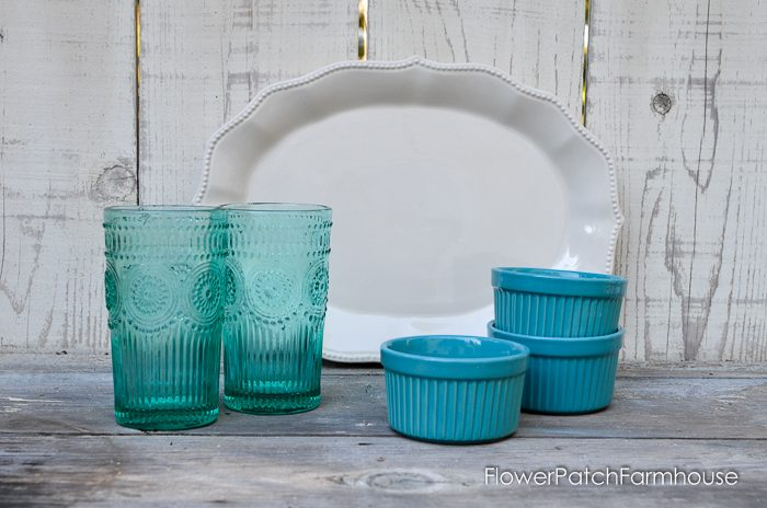Pioneer Woman glass tumblers, ramekins and platter available from Wal-Mart. FlowerPatchFarmhouse.com