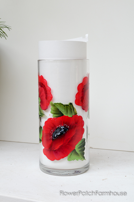 Red Oriental Poppy Hand Painted Vase. FlowerPatchFarmhouse.com