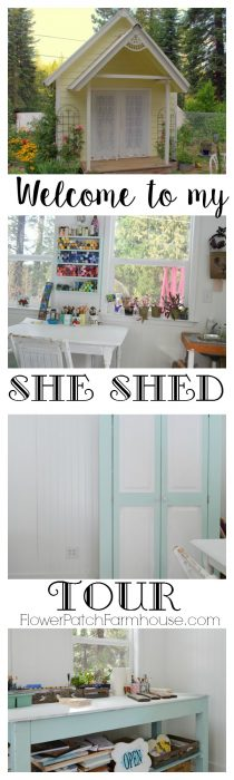 Come tour my favorite work space. A fantastic she shed for dreaming, creating and just relaxing. This could be a fabulous garden shed or even an office. Come see how I use my Studio Cottage. FlowerPatchFarmhouse.com