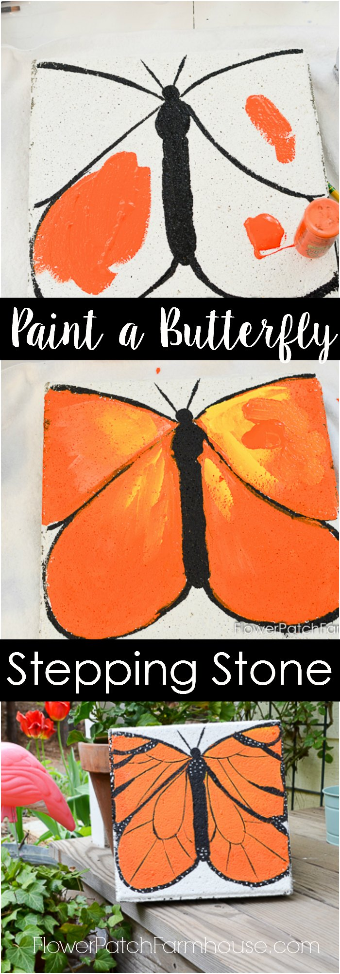 Turn a plain concrete stepping stone paver into a beautiful butterfly.  A gorgeous metamorphoses created with paint.  Your garden can be filled with butterflies even in winter! Simple step by step instructions for every level of ability.