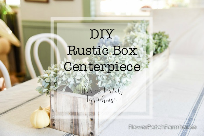 DIY rustic box centerpiece with Hydrangeas and text overlay
