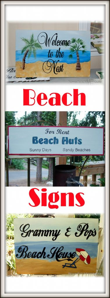 Fun Beach signs, get ideas for painting your own beach decor. Instructions for painting a beach scene and how to paint lettering. Create a coastal vibe with a bit of paint and some scrap wood!