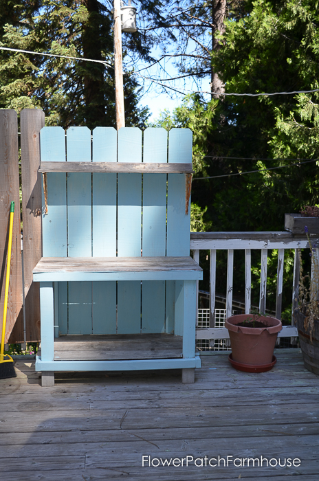 DIY Potting Bench Refresh with Waverly Chalk paint in Pool Blue
