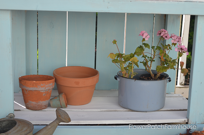 DIY Potting Bench Refresh with Plaid Crafts chalk finish paint.