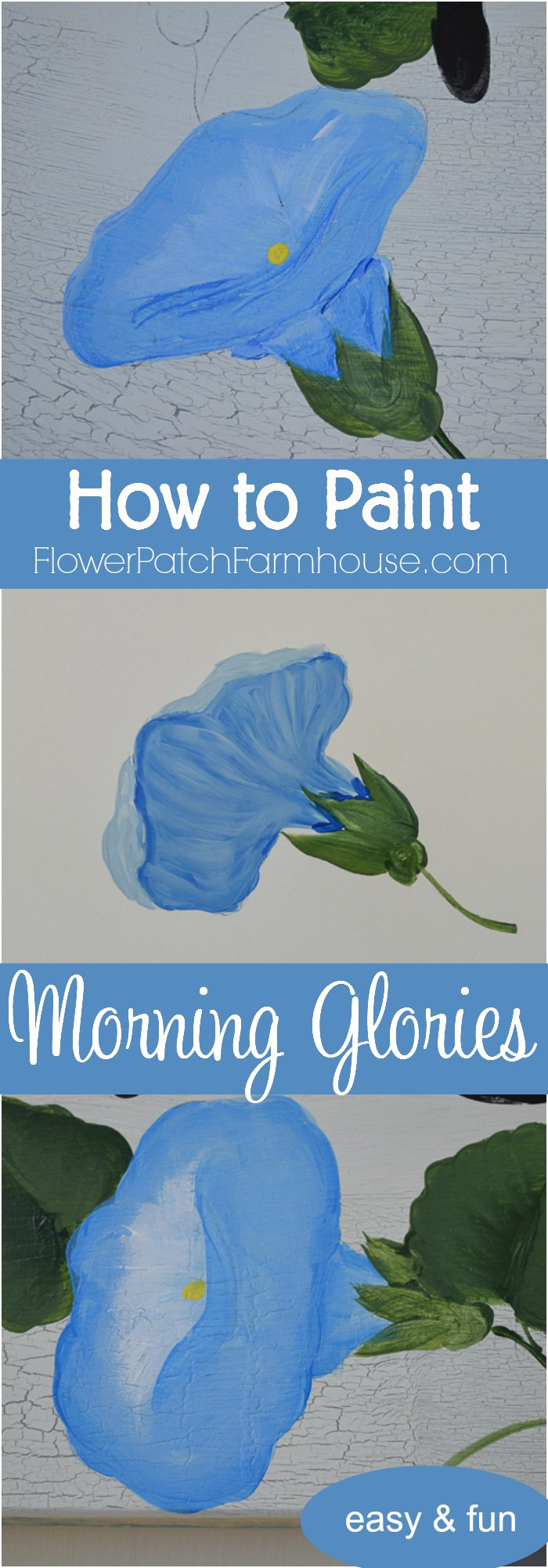 How to paint Morning Glories one stroke at a time in acrylics.  Simple step by step painting tutorial with a video.