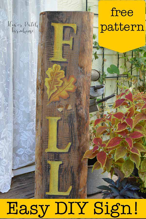 Hand paint a DIY Fall Sign complete with Oak leaves and Acorns!  Easy and fun.  Get the links for the downloadable patterns. #fallcrafts #diysigns #acrylics #easypainting #beginnerpainting #farmhousedecor #cottagestyle