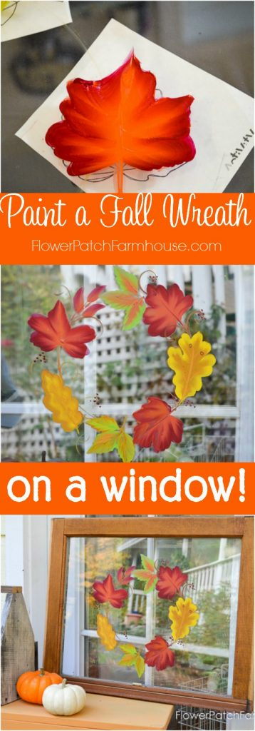 Paint Autumn Leaves on Glass. Gorgeous Fall colors arranged in a wreath in this painting tutorial. Step by step instructions and a video attached. This is wonderful for Fall porch DIY decor, a fun craft with kids or a seasonal change. Completely washable and ready for a new season.
