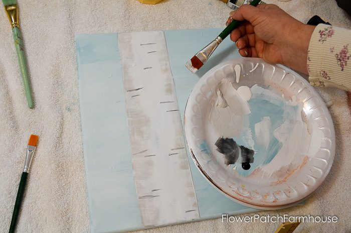 How to Paint an Aspen Tree with Chickadee sign painting. Great for rustic pallet signs or DIY decor, crafts of all sorts. Easy beginner lesson.