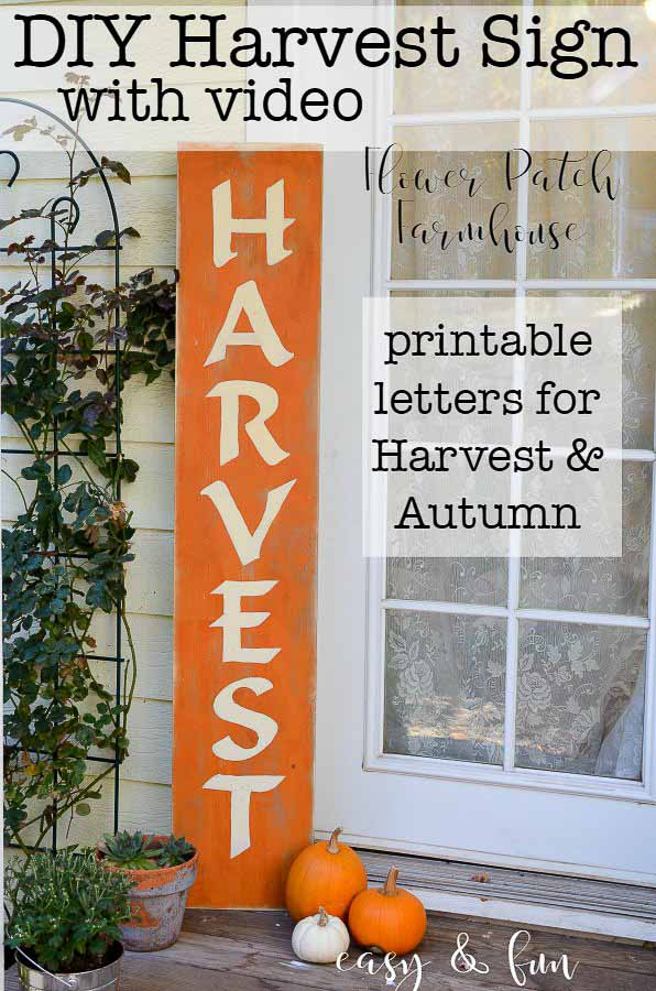 A Harvest sign and how to paint lettering is an easy tutorial on painting DIY signs without using expensive stencils or cutting machines. Create different signs and make them unique. #fallsigns #DIYsigns #handpainted #fallcrafts