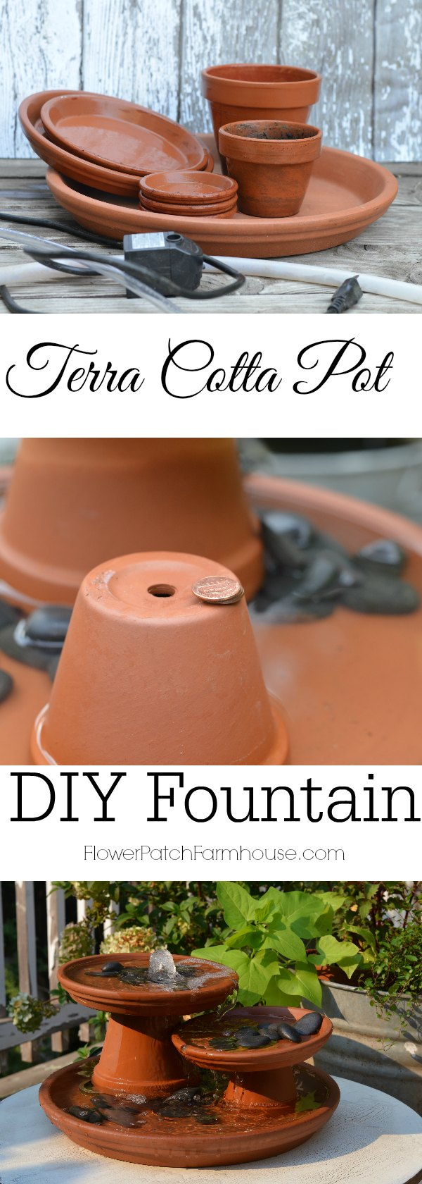 DIY Terra Cotta fountain and how I modified it to make it easier.  Create the soothing sounds of trickling water with this table top DIY fountain!