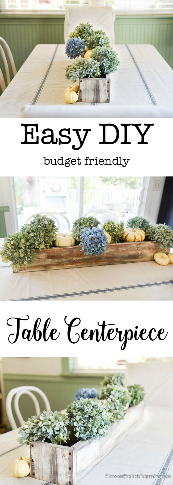 The perfect DIY centerpiece!  Easy to build on a budget, switch out for the seasons and move when you need more space on your table.  It's as practical as it is beautiful!