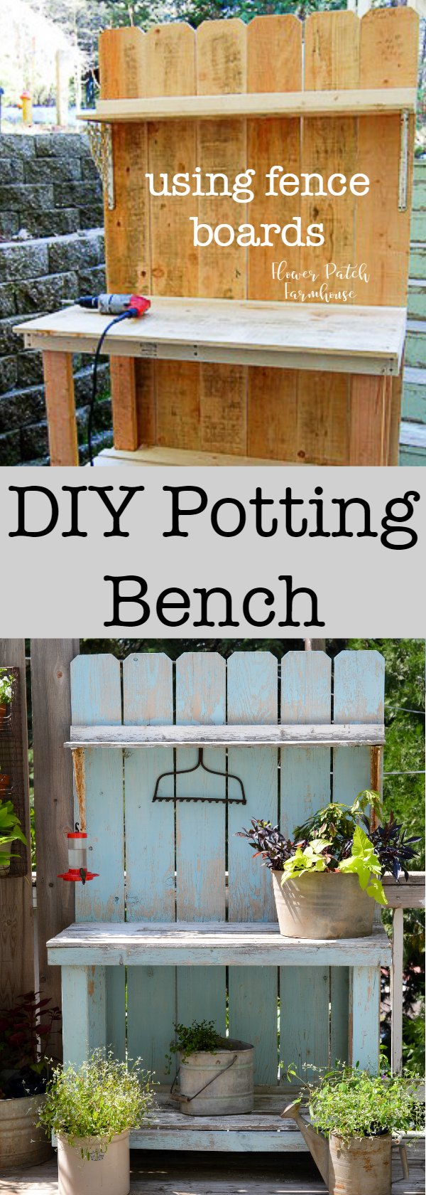 DIY Potting Bench using Fence boards.  A budget friendly DIY build that I use for many things, not just potting plants! Come see how we put this easy potting bench together for around $40