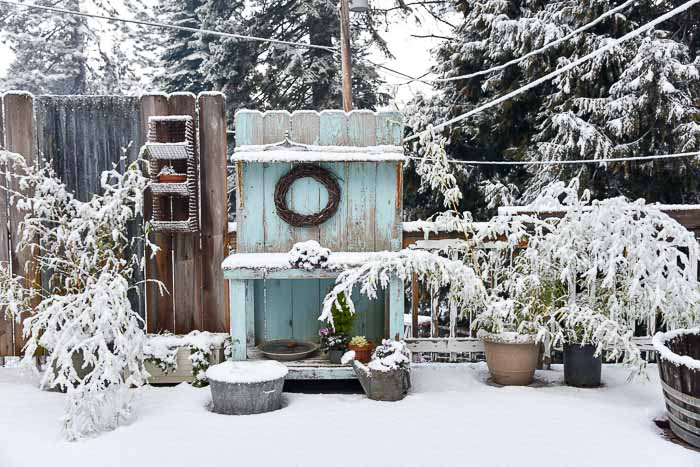 DIY Potting Bench in the snow