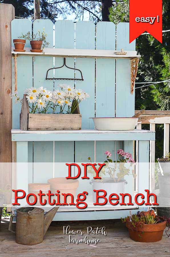 easy DIY potting bench made from cedar fence boards. Come see how easy and budget friendly this DIY potting bench can be. This is a fabulous piece that is so versatile. We use it for summer entertaining, display and so much more! #diydecor #pottingbench #gardendecor