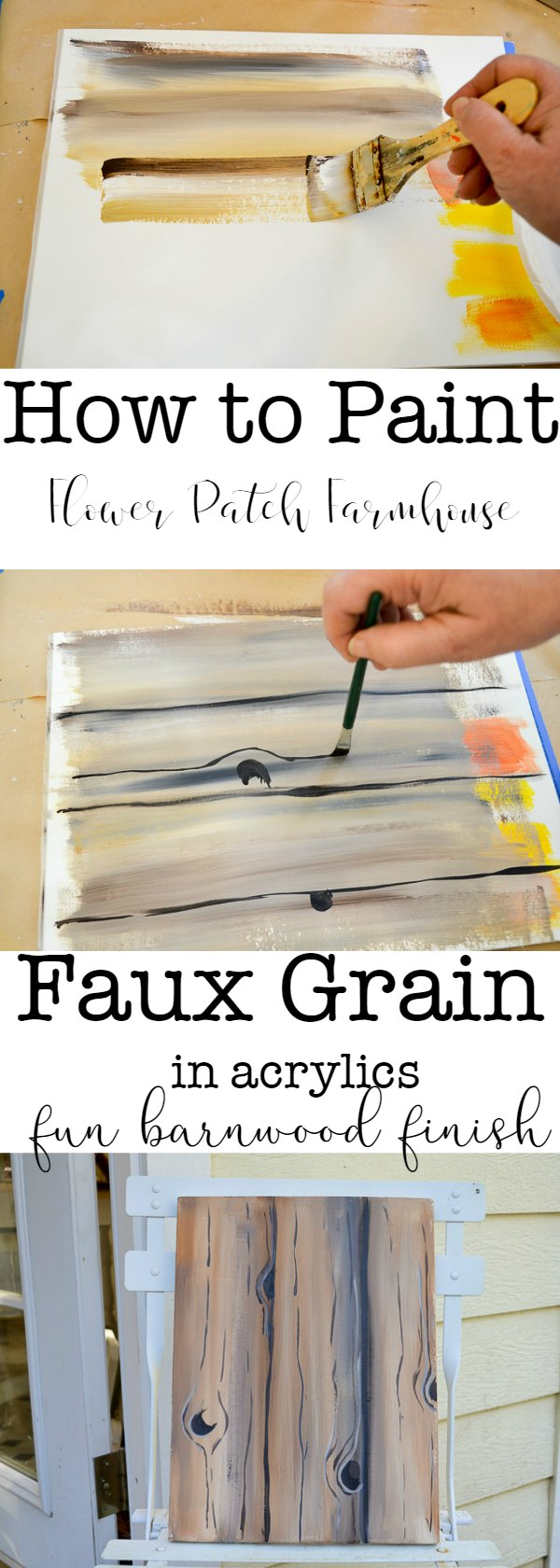 How to Paint faux wood grain in acrylics is easy and super fun.  Great for barn wood back grounds on all sorts of paintings or craft projects. Check out some of my other tutorials to see how I use it.