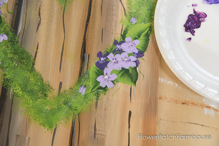 violets on mossy heart wreath