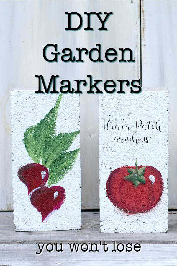 brick painted with radishes and tomatoes with text overlay, DIY Garden Markers, you can't lose, Flower Patch Farmhouse