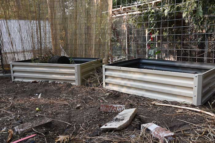 Metal raised beds.