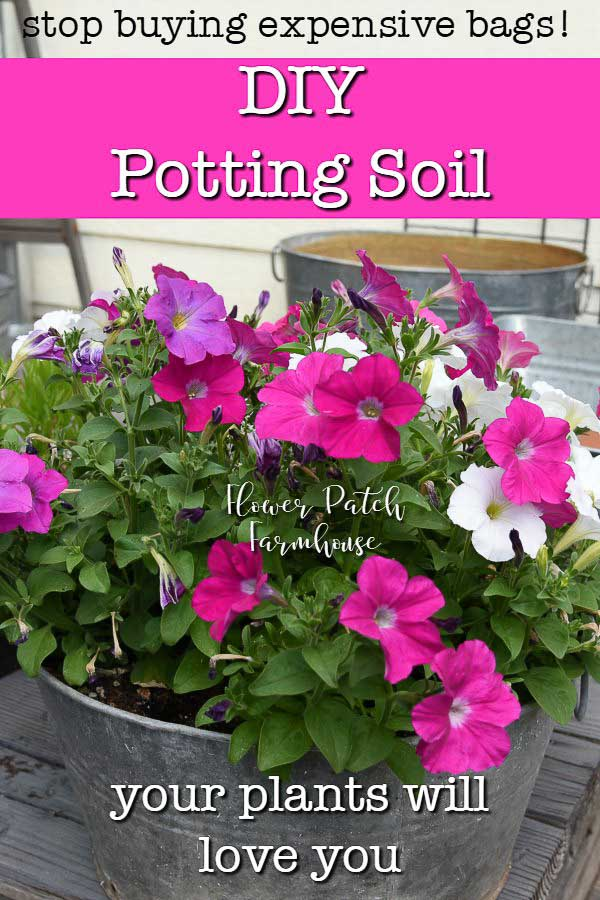 Petunias in a galvanized tub with text overlay, DIY potting soil, Flower Patch Farmhouse