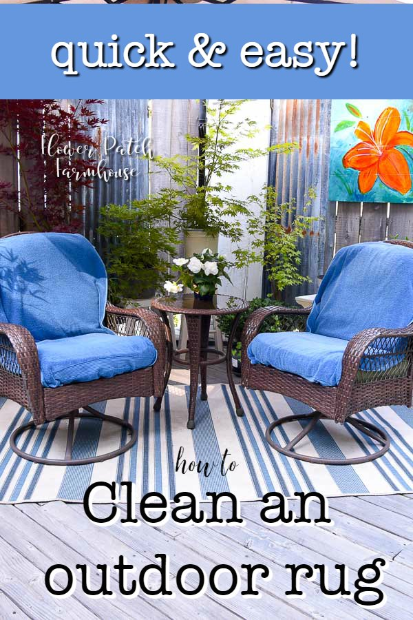 blue striped outdoor rug with chairs and text overlay, quickly and easily how to clean your outdoor rug, Flower Patch Farmhouse