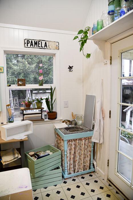 Sink area of She Shed studio cottage