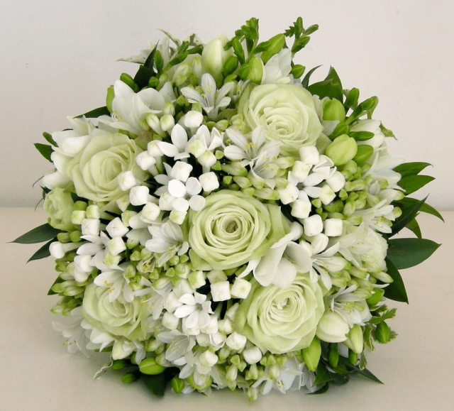 White Greenish Roses With Small White FlowersPNG Hi Res