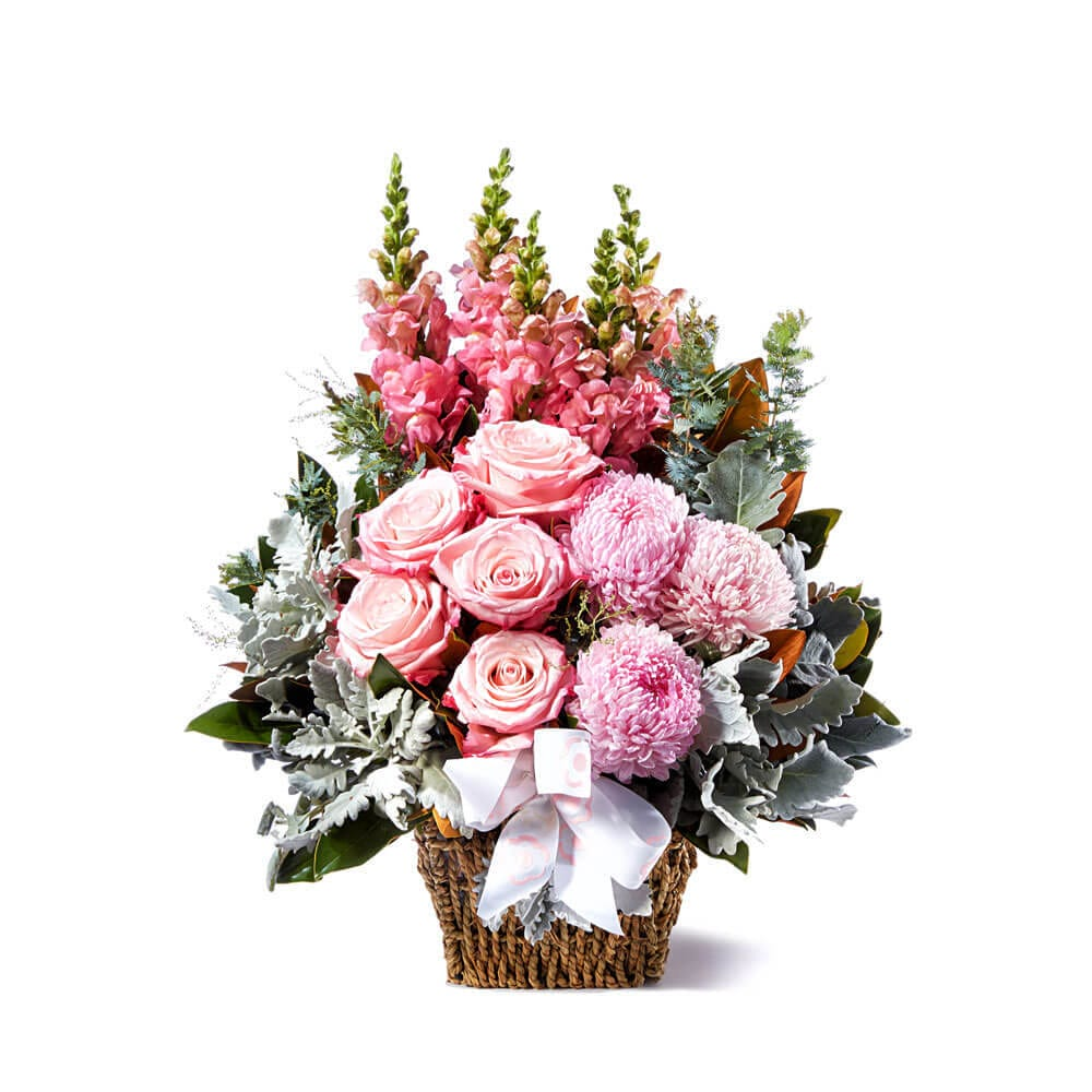 Precious Pink Basket of Blooms   Flowers for Everyone Precious Pink Flower Basket