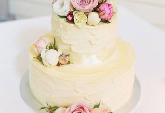 Two Tier Wedding Cake With Pink White Flowers Small