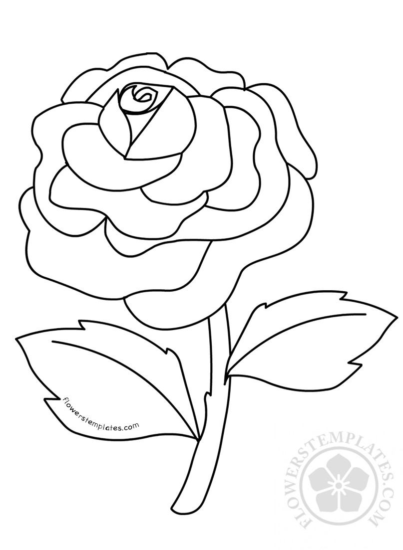 Rose Flower Coloring Pages Kids Flowers Templates