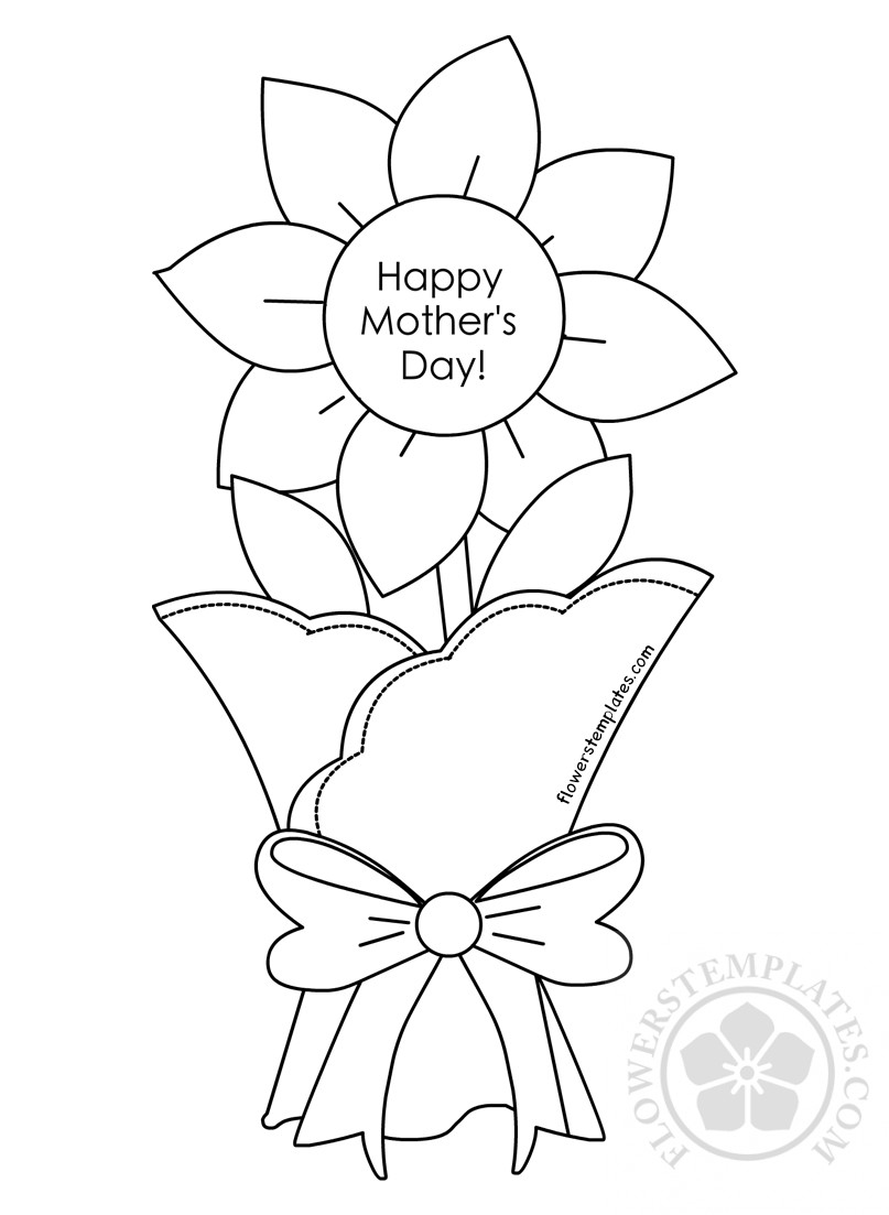 Mother S Day Cards Flower Coloring Page Flowers Templates