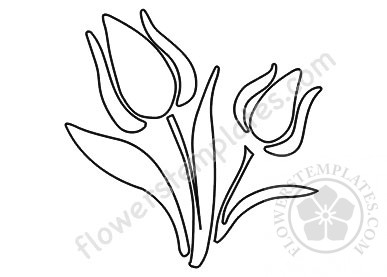 ulip flowers and leaves coloring page