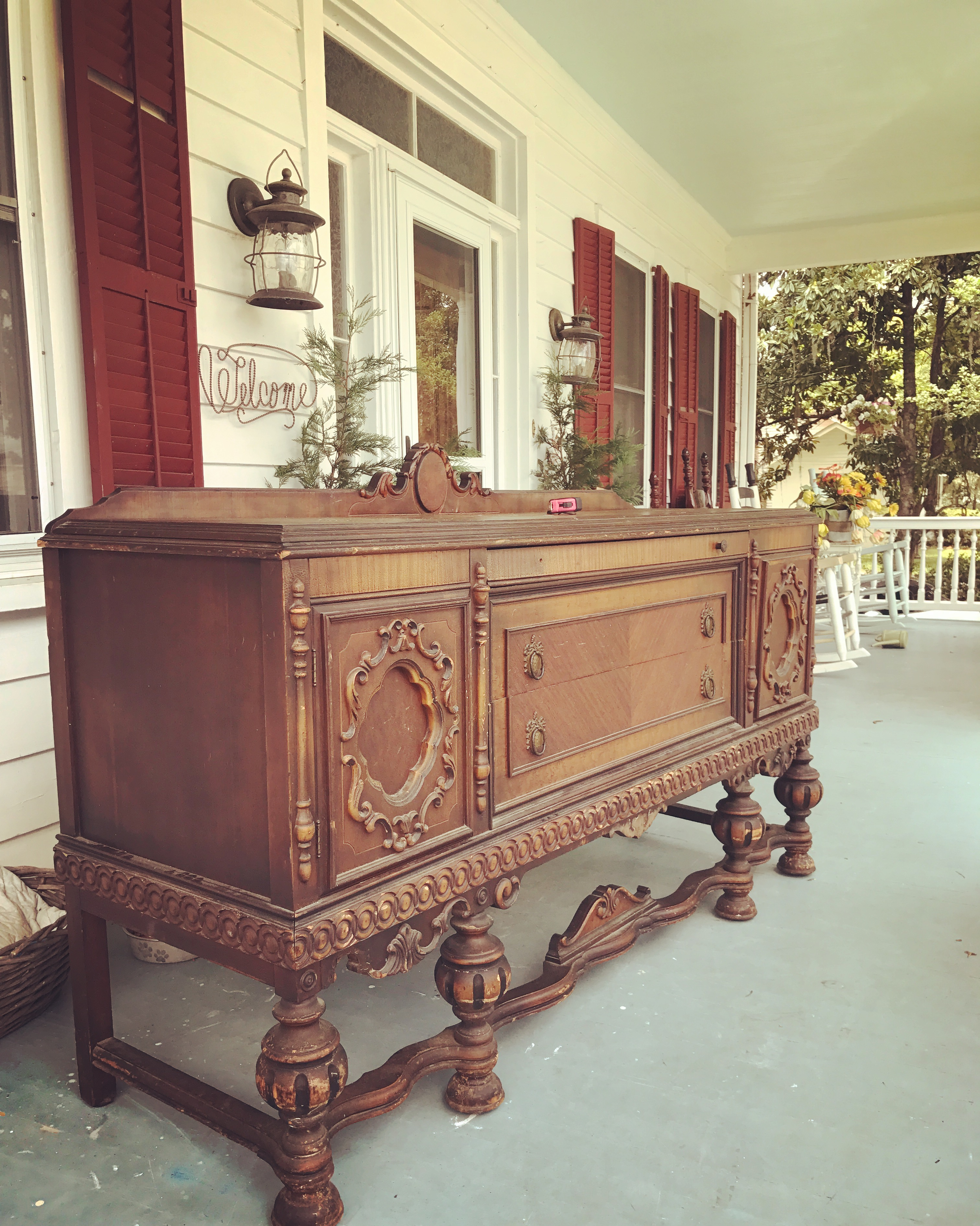 How To Convert A Sideboard Buffet Into A Bathroom Vanity Flowertown Charm
