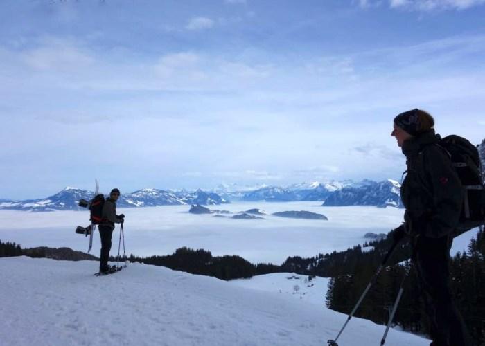 Snowboard Schneeshuh Pilatus Fräki Bürgenstock Nebelmeer